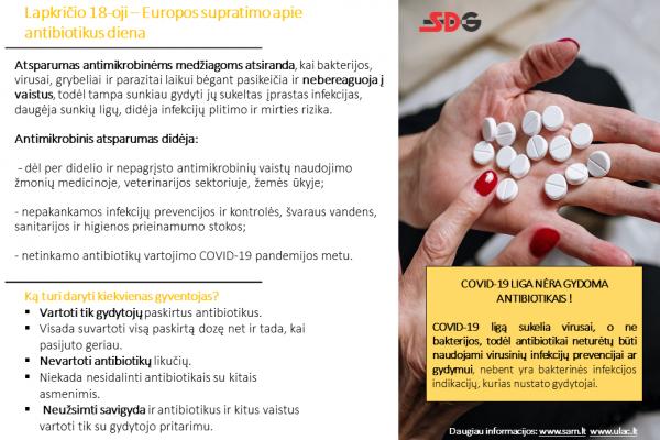 Lapkričio 18-oji – Europos supratimo apie antibiotikus diena